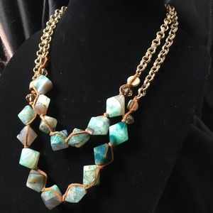 Green Moss Agate Chain Necklace